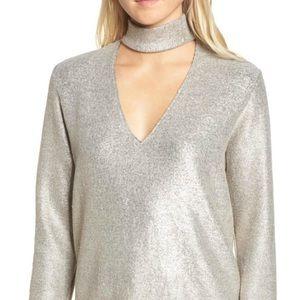 NWT BAILEY 44 Silver Choker Top Metallic Sweater